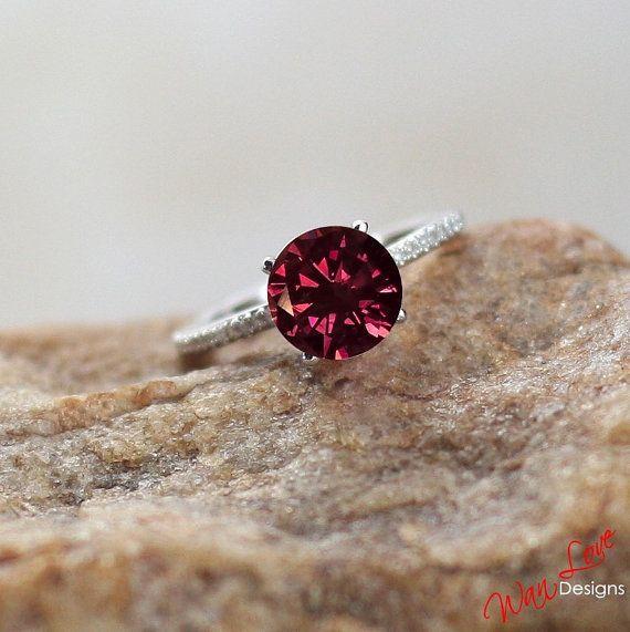 Pink & White Diamond Basket Solitaire ring 2ct 14k 18k White Yellow Rose Gold- Platinum-Custom made-Wedding-Engagement-Anniversary-Round cut