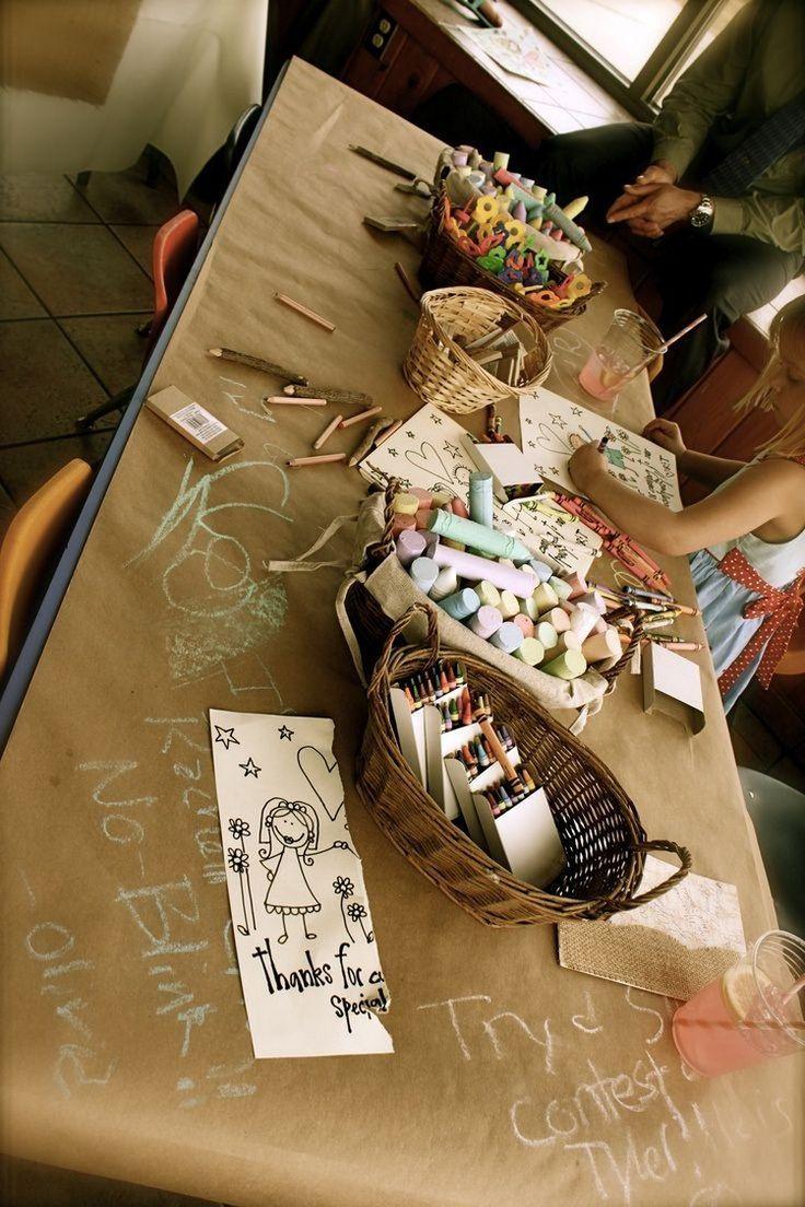 Children's table for wedding with paper cover paint chalk   – deko Gartenhoc…