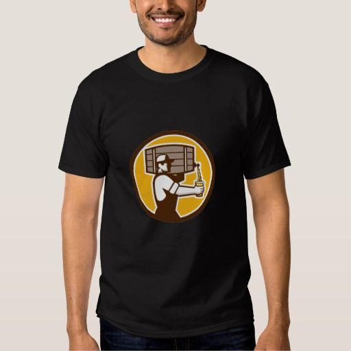 Bartender Carrying Keg Pouring Beer Circle Retro T-shirt. Illustration of bartender carrying keg on shoulder pouring beer from keg viewed from the side set inside circle done in retro style. #Illustration #BartenderCarryingKegPouringBeer