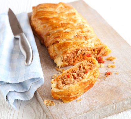Sausage plait I will replace the peppers and chilli with grated apple and garlic. This could become a firm family fave.
