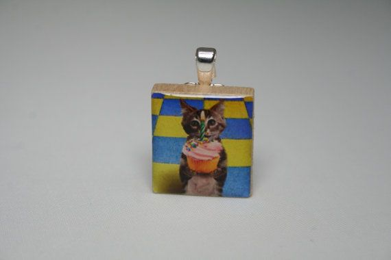 Happy Birthday Cake Kitten with Lighted Candle Scrabble Wood Tile Pendant, Necklace Charm, Jewelry, chain sold separately  via etsy  #tarrytiles
