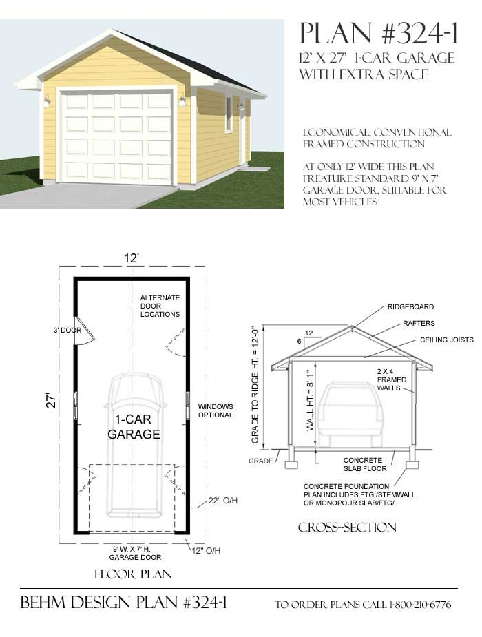 1 Car 12 Wide Extra Deep Garage Plans 360 1 12 X 30 Garage Plans Garage Plans Free Garage Plan