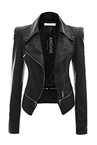 Angvns Donna nera giacca in pelle con la chiusura lampo EU36-44 Angvns