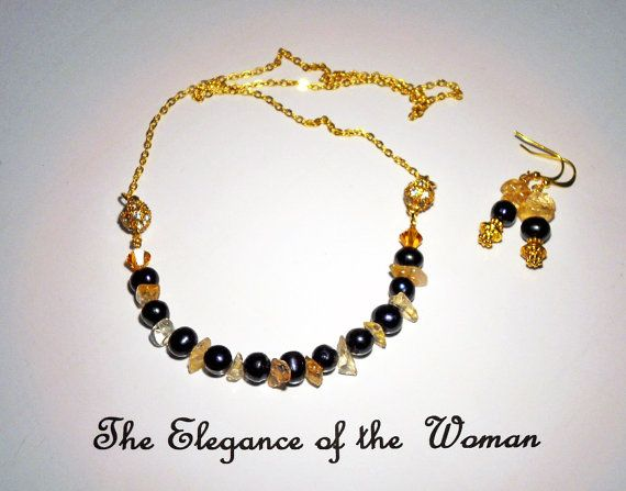 Necklace and earrings. Citrine,  Gold and Rhinestone Magnets, Sterling silver and electroplated with 24K gold chain,