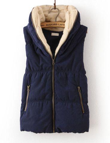 Navy Hooded Sleeveless Zipper Cotton Vest