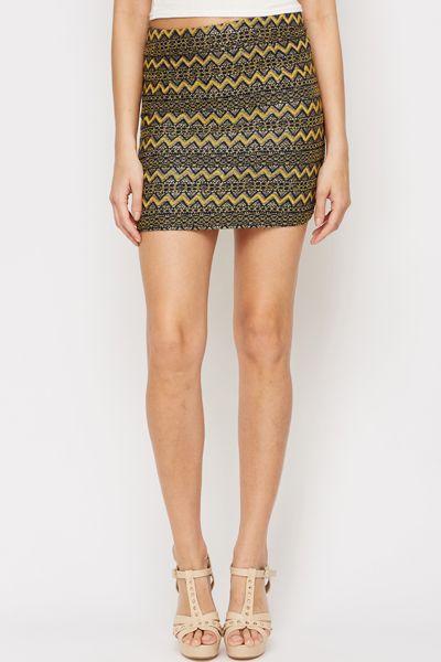 Metallic Lace Mini Skirt