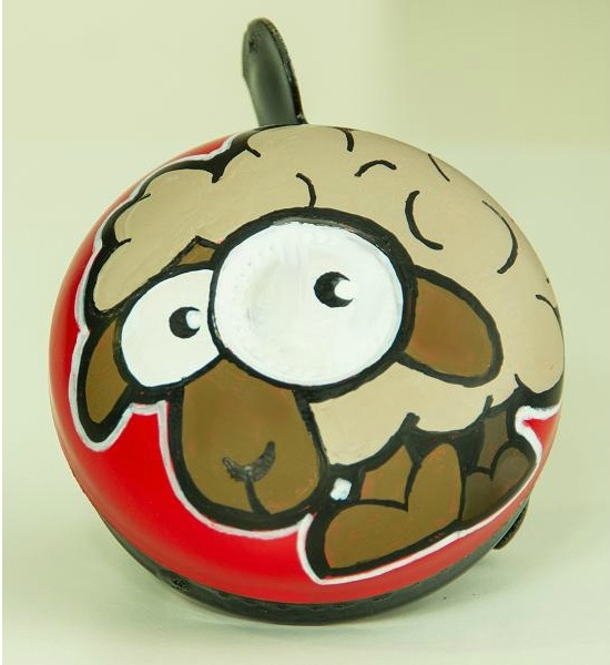 """""""Ugly Sheep"""" Bicycle Bell with Red and Black contrasting colours. Hand-Painted with glossy smooth finish. Resistant to all types of weather. Comes in a pvc clear gift box. The best spring gift (not only) for bicycle lovers! :) #uglybell"""