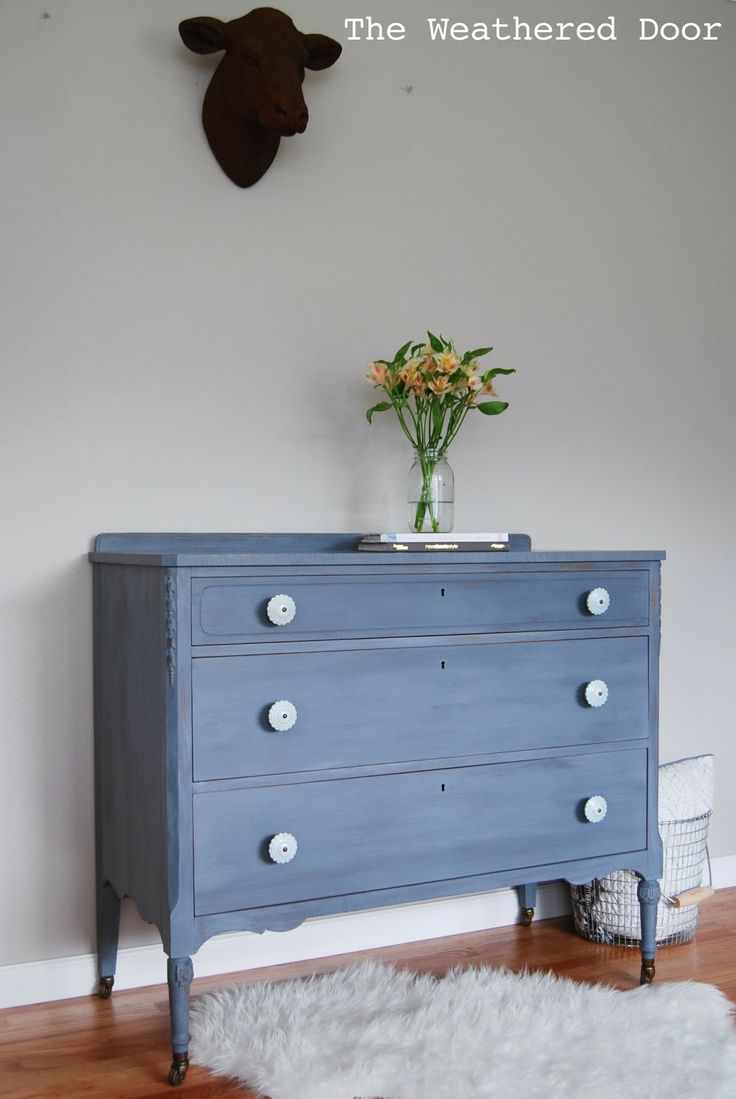 The Weathered Door: A Grey Blue Purple Dresser With Soft Blue Knobs