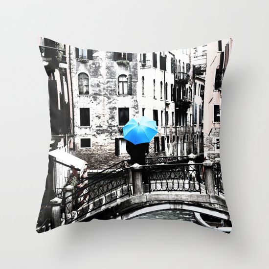 Throw Pillow - Blue Umbrella in Venice #photo #venice #homedecor #society6