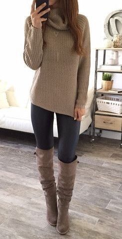 winter + street style + long boots + turtleneck sweater + fall