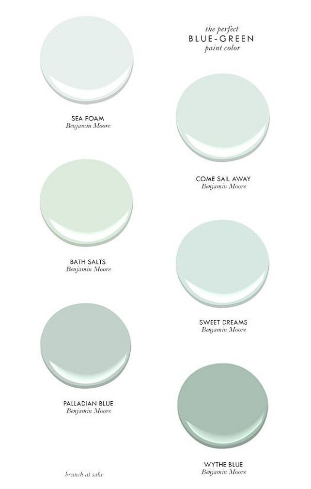 The perfect Blue-Green Paint Colors. Blue Green Paint Colors. Seafoam Paint Color. Turquoise Paint Color. Benjamin Moore Sea Foam. Benjamin Moore Come Sail Away. Benjamin Moore Bath Salts. Benjamin Moore Sweet Dreams. Benjamin Moore Wythe Blue. Benjamin Moore Palladian Blue. #BenjaminMoorePaintColor