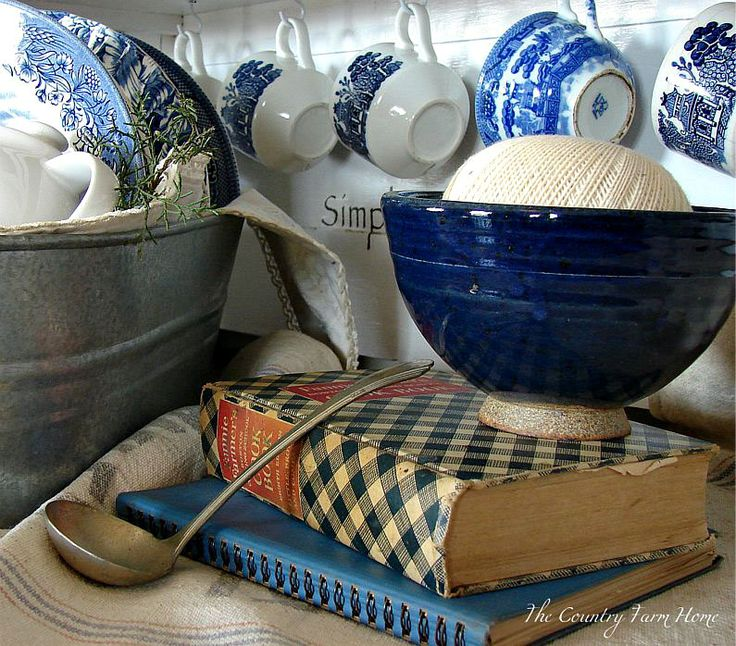 I am a blue person, baskets, clay pots, paisley, roses, herbs, candles, quilts, lanterns - you get the idea/ & don't forget the painted furniture!.