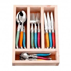 24 Piece Mixed Colour Cutlery Set