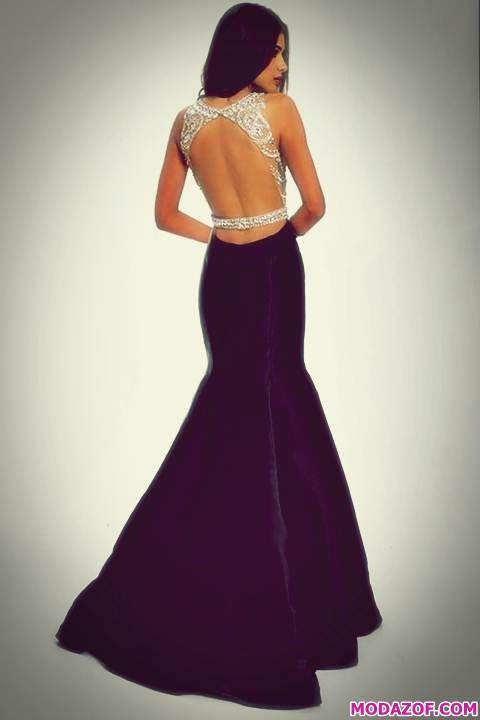 Sırtı Açık İnci İşlemeli Elbise