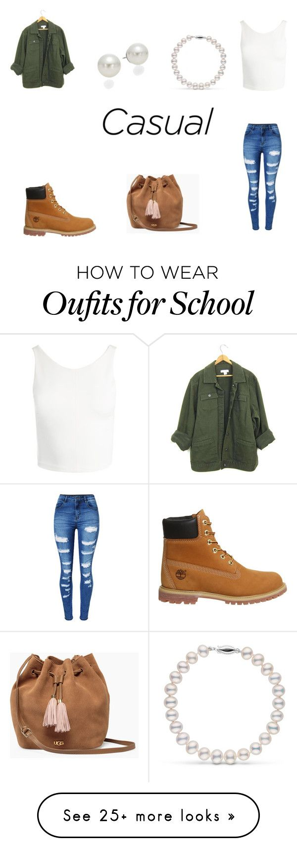 """Something  Iwould wear to school!"" by queenb-676 on Polyvore featuring Sans Souci, Timberland, WithChic, UGG and AK Anne Klein"