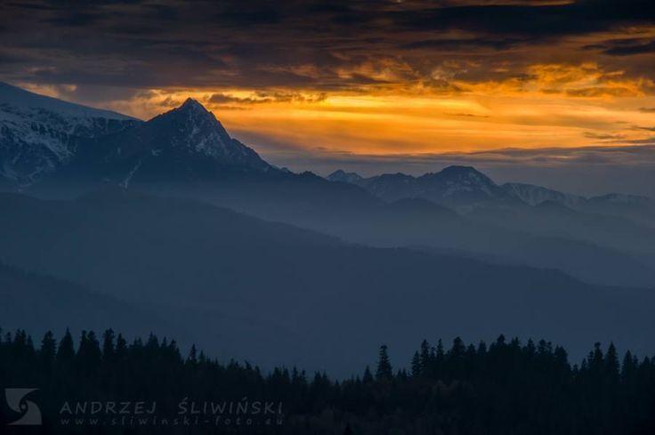 Tatra Mountains at sunset.