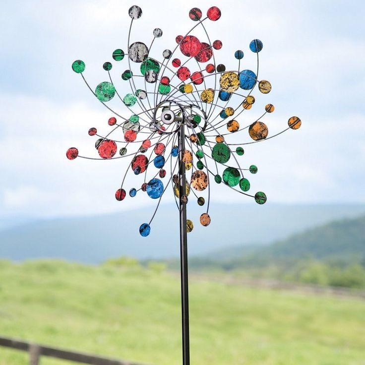 Metal Wind Spinner Kinetic Pinwheel Sculpture Yard Art Outdoor Decor  Colorful