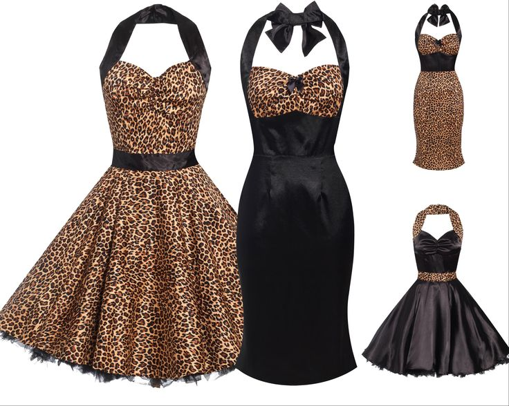 New Ladies 50s Retro Vintage Style Rockabilly Pinup Leopard Print Party Dress | eBay