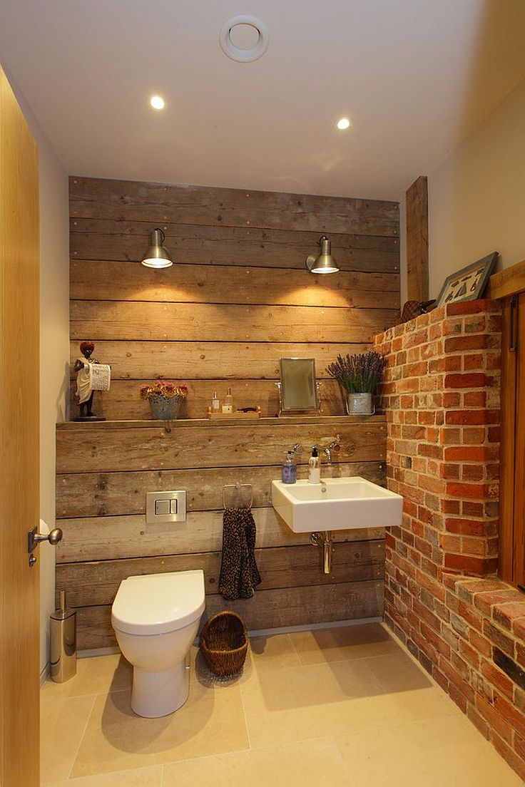 Rustic bathroom with reclaimed wood and exposed