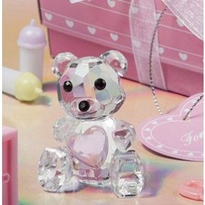 Crystal Teddy Bear Pink Heart Girl Baby Shower / Baptism / Christening Favours