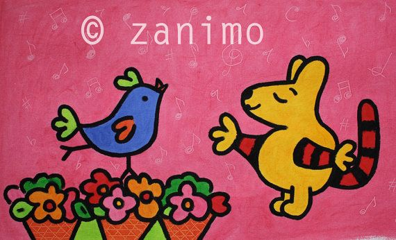 Maki sings with a bird pink purple bird flowers wall art by Zanimo, $20.00