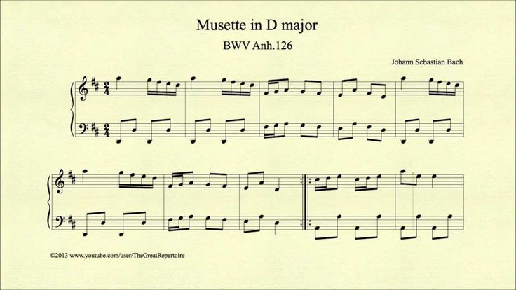 Bach, Musette in D major, BWV Anh 126, Piano