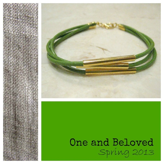 Unique Handmade Light Green Leather Bracelet by OneandBeloved, €5.00