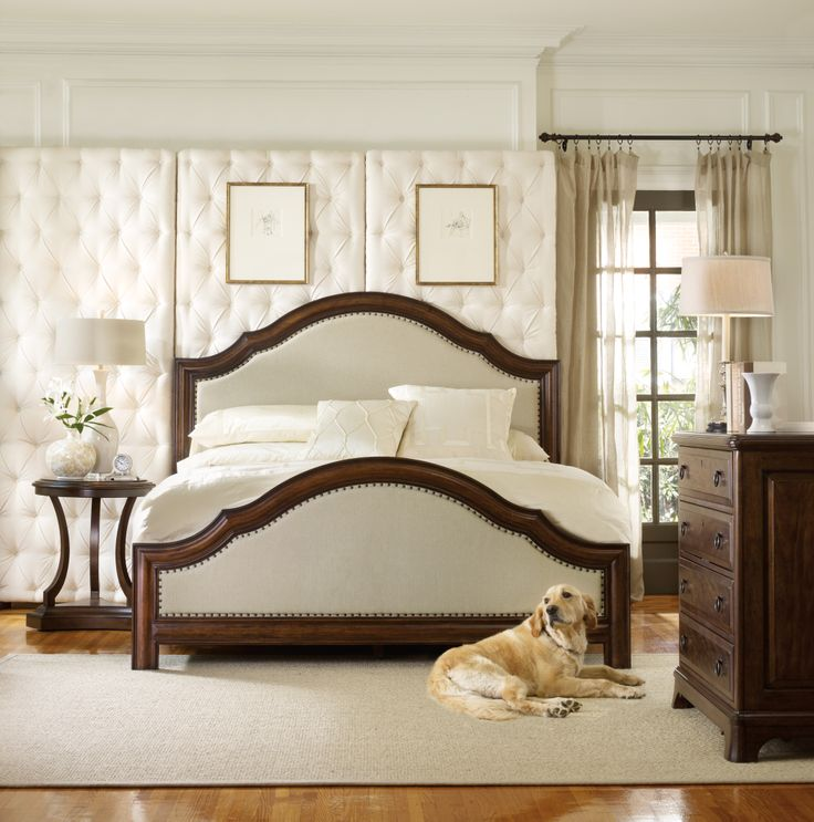 Hooker Furniture Master Bedroom Upholstered Bed Wood Bed Queen Bed Rustic