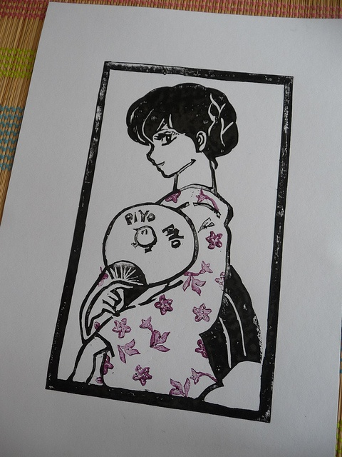 Kyoko Otonashi Lino Cut Print by English Girl at Home, via Flickr