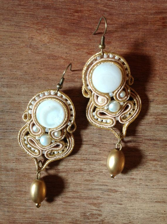 Soutache bridal earrings with shell and pearls via Etsy