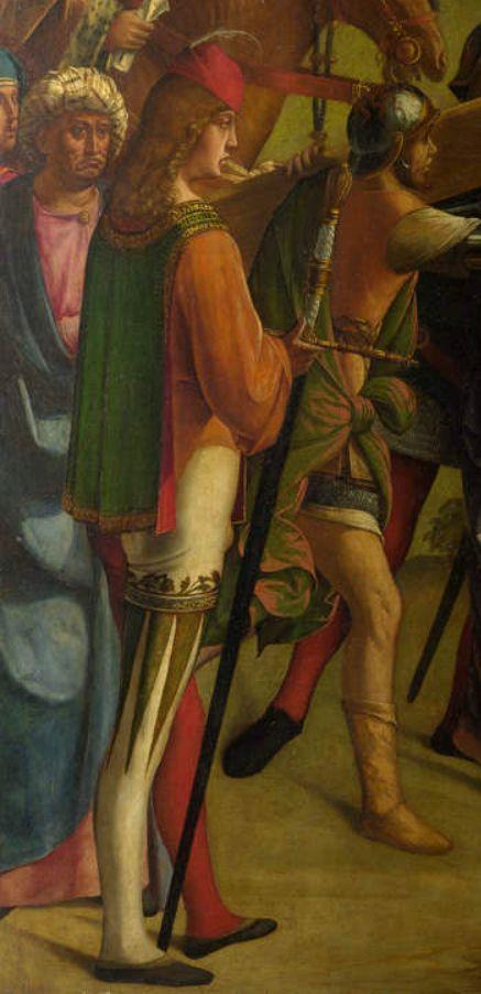 Фрагмент картины «Христос, несущий крест, и обморок Девы Марии», находившейся в церкви Сан-Доменико, Кремона, Италия. Автор: Боккаччо Бокаччино (Boccaccio Boccaccino, 1460 – 1525). Время создания: около 1501 г. Материалы: масло, дерево. Размеры: 136,6×134,6 см. Национальная Галерея, Лондон[18]