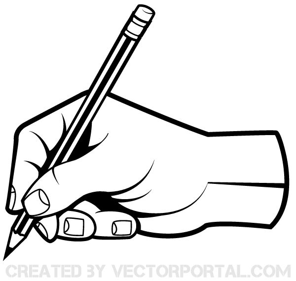 Human Hand Holding a Pencil Clip Art | Download Free ...