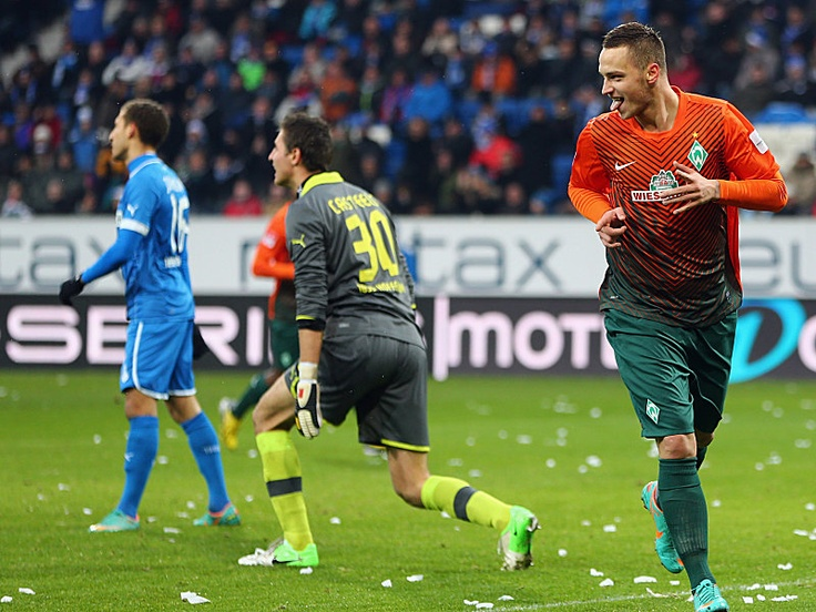 Marco Arnautovic scores three goals and lifts Werder Bremen to a 4-1 victory over TSG 1899 Hoffenheim