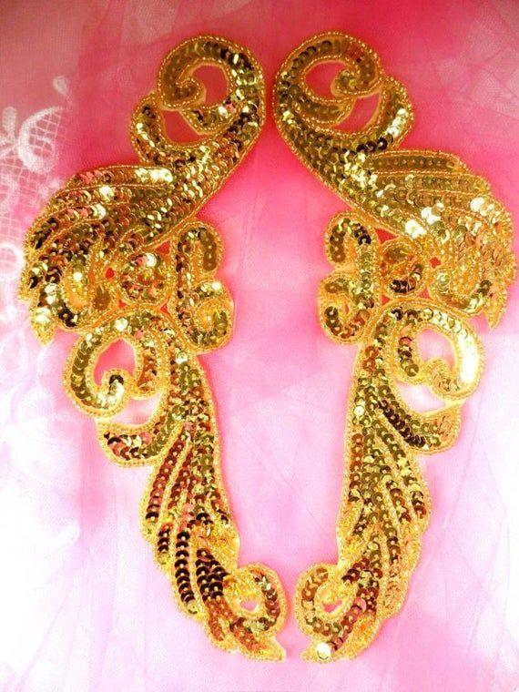 "JB253 Sequin Applique Gold Beaded Mirror Pair Dance Patch 9/"""