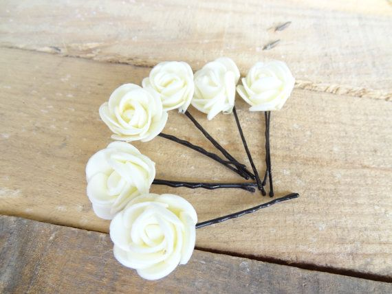 Ivory  Rose Wedding Hair Pins Ivory Bridal Hair Pins Hair