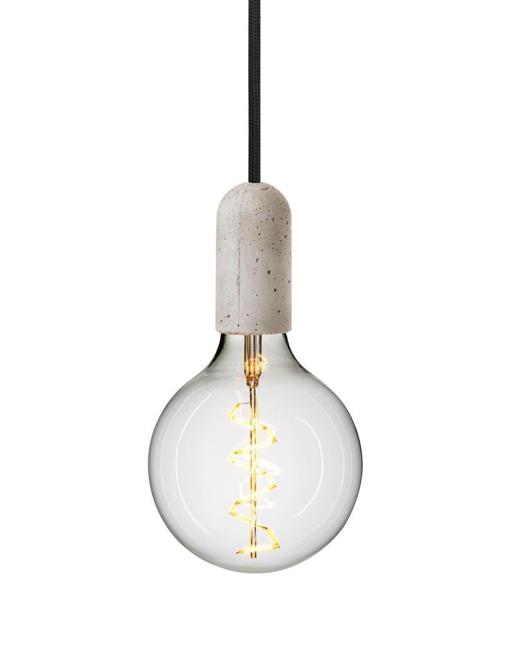 Rustic concrete pendant light - cord in 'Raven'
