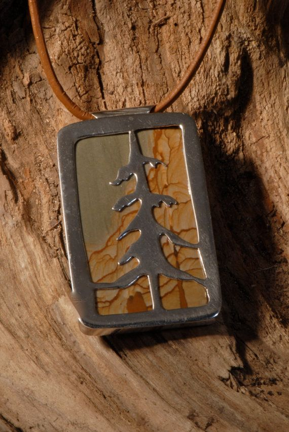 Picture Jasper Sterling Tree Pendent hanging from by Foresthollow, $165.00  Go to Etsy.com/shop/foresthollow
