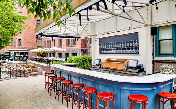 Champagne Charlie's, it's a front yard/garden that's also a champagne bar, and it's open now at the High Line Hotel in Chelsea