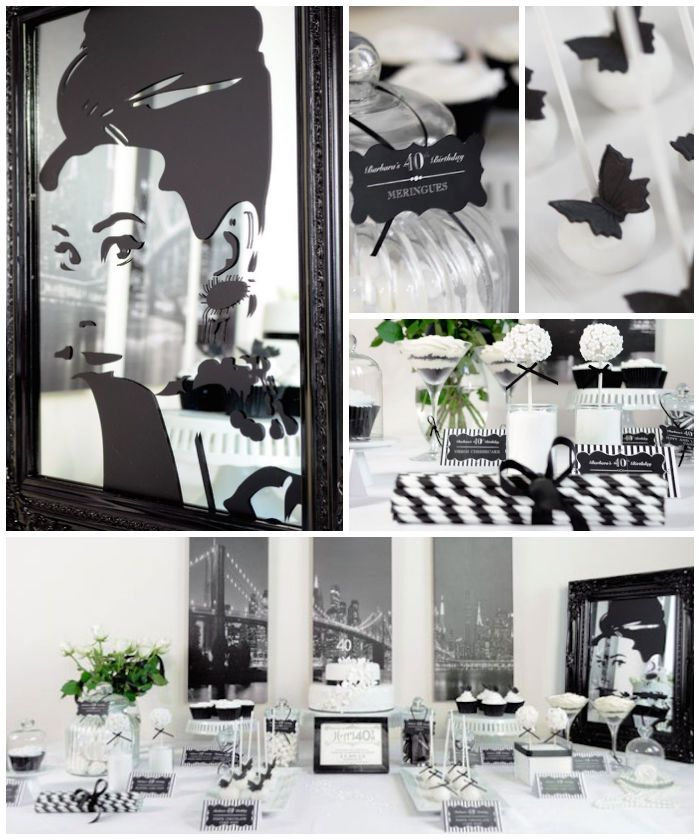 Stylish Black and White 40th Birthday Party with Such Great Ideas via Kara's Party Ideas KarasPartyIdeas.com #adultbirthdayparty #blackandwh...