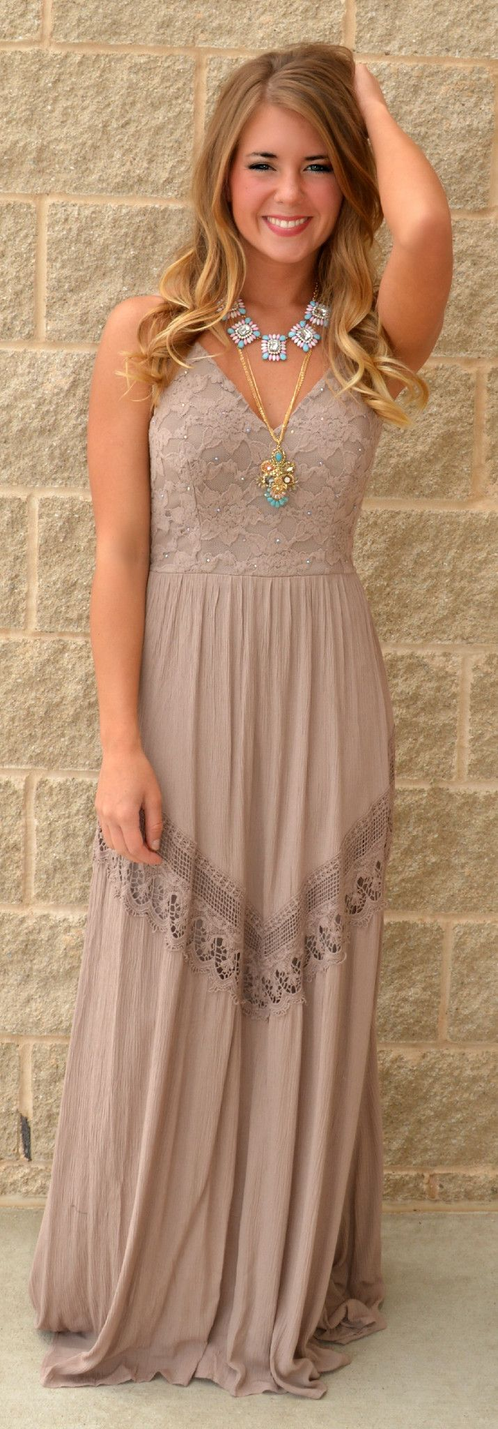 Taupe Maxi Dress with Jewel-Embellished Lace Bodice and Single Lace Chevron