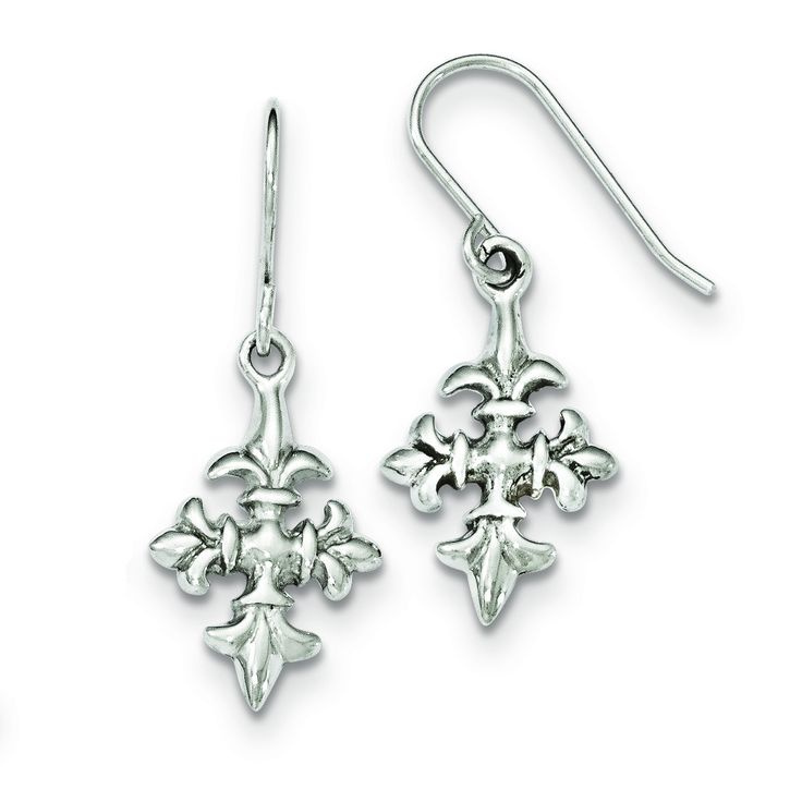 Sterling Silver Polished Fleur De Lis Dangle Shepherd Hook Earrings QE11984