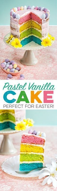 This pretty vanilla cake has pastel-coloured layers and is perfect for Easter! Decorate with mini eggs or flowers