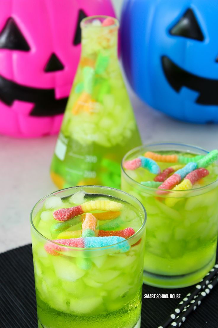 halloween punch for kids 3 ingredient halloween worm punch recipe for kids bubbly - Easy Alcoholic Halloween Punch