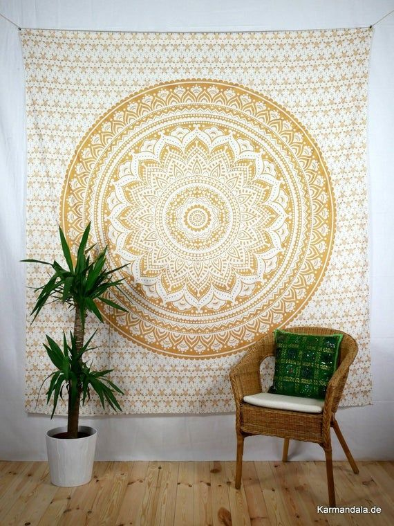 Indian deluxe Mandala Tapestry Wallhanging with gold Mandala on white fabric cloth
