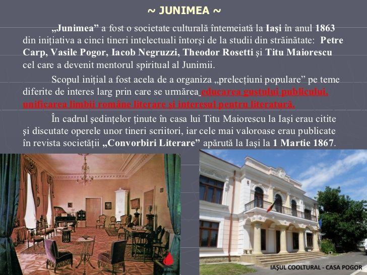 """~ JUNIMEA ~ <ul><li>"""" Junimea""""  a fost o societate culturală întemeiată la  Iaşi  în anul  1863  din iniţiativa a  cinci  ..."""