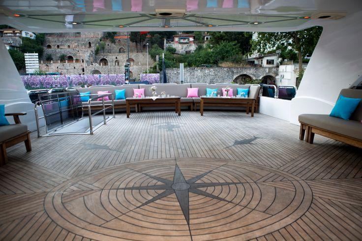 Dance floor on the boat with pink and blue decor theme. #dancefloor #luxuryboatistanbul #destinationeventistanbul #destinationweddingistanbul #weddingplanneristanbul #esrakicioglu #luxuryeventsistanbul #hennaparty #bosphorusevents #bosphorusweddings