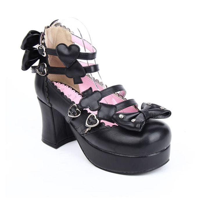 58.70$  Buy here - http://alihot.shopchina.info/go.php?t=32601522639 - Japanese Harajuku Gothic Lolita Cosplay Shoes Alice in Wonderland Poker Series  High Heel Bowtie Shoes  #SHOPPING