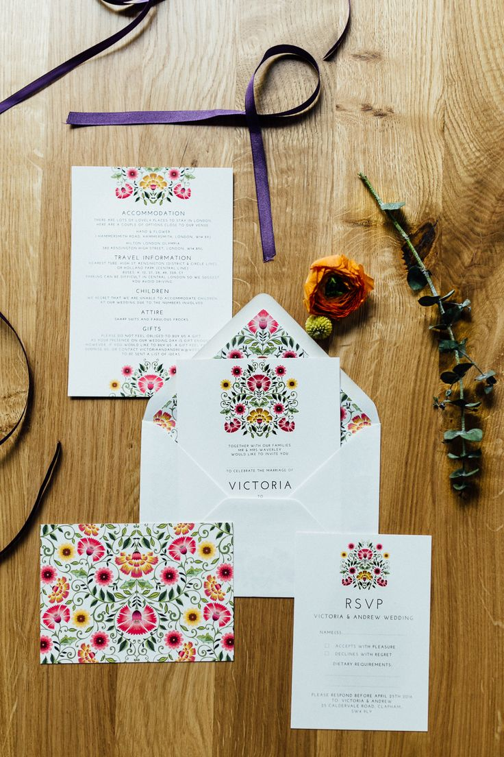 wedding invitations east london south africa%0A Colourful modern floral wedding stationery set by Lucy Says I Do  Photo by  Beatrici Photography