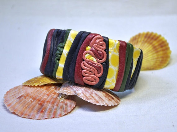 Leather cuff  colored autumn  leather bracelet by EthnoBird, $25.00