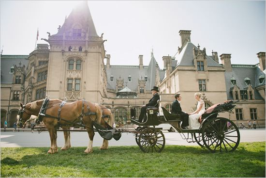 Castle Wedding with Horse-drawn carriages. A truly royal wedding. North Carolina Castle Wedding @BiltmoreEstate.
